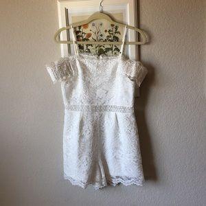 Pretty little white lace romper from Francesca's.